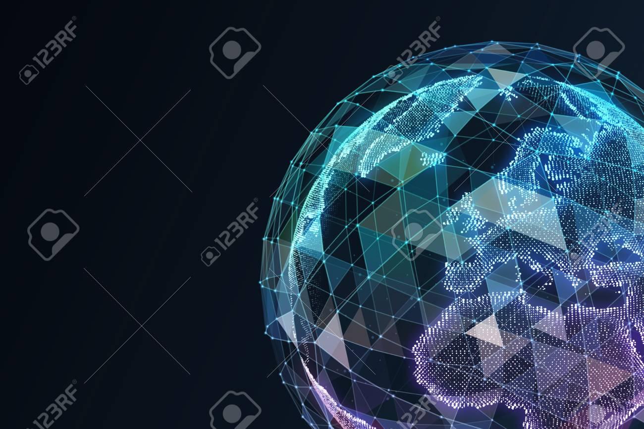 Digital World. Computer graphics made. Illustration of a technological world. - 71357100