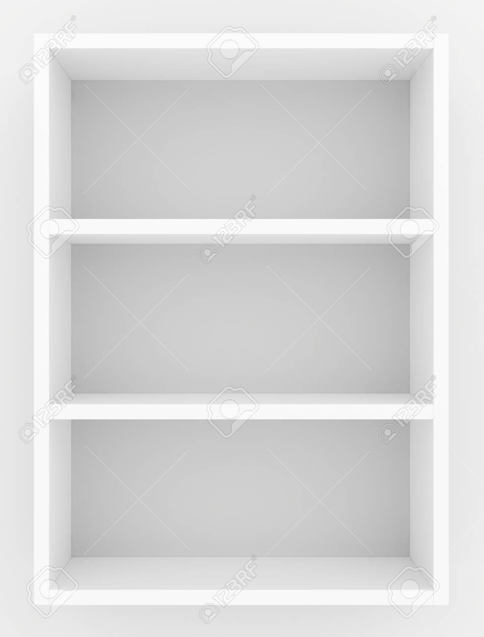 White blank showcase shelves front view. 3D rendering. - 72168920