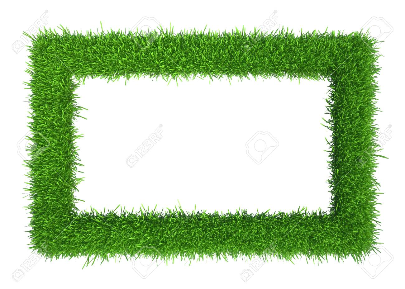 Green Grass Frame With Copy-space. Square Border Template Isolated ...