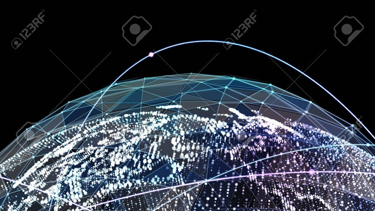 Digital world map global network satellite technology of earth digital world map global network satellite technology of earth 3d illustration stock illustration gumiabroncs Image collections