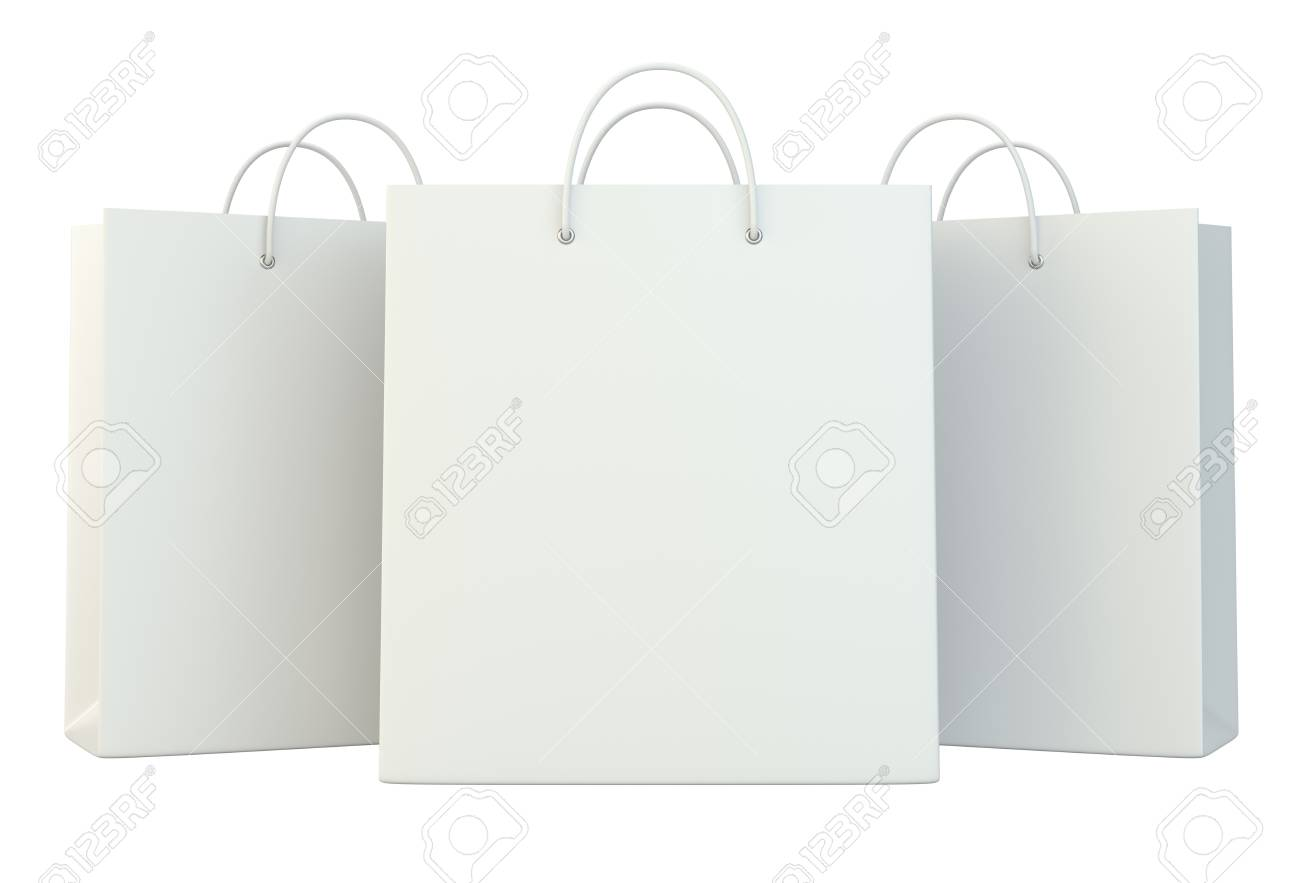 blank white shopping paper bags set. 3d rendering isolated on white background - 76889325
