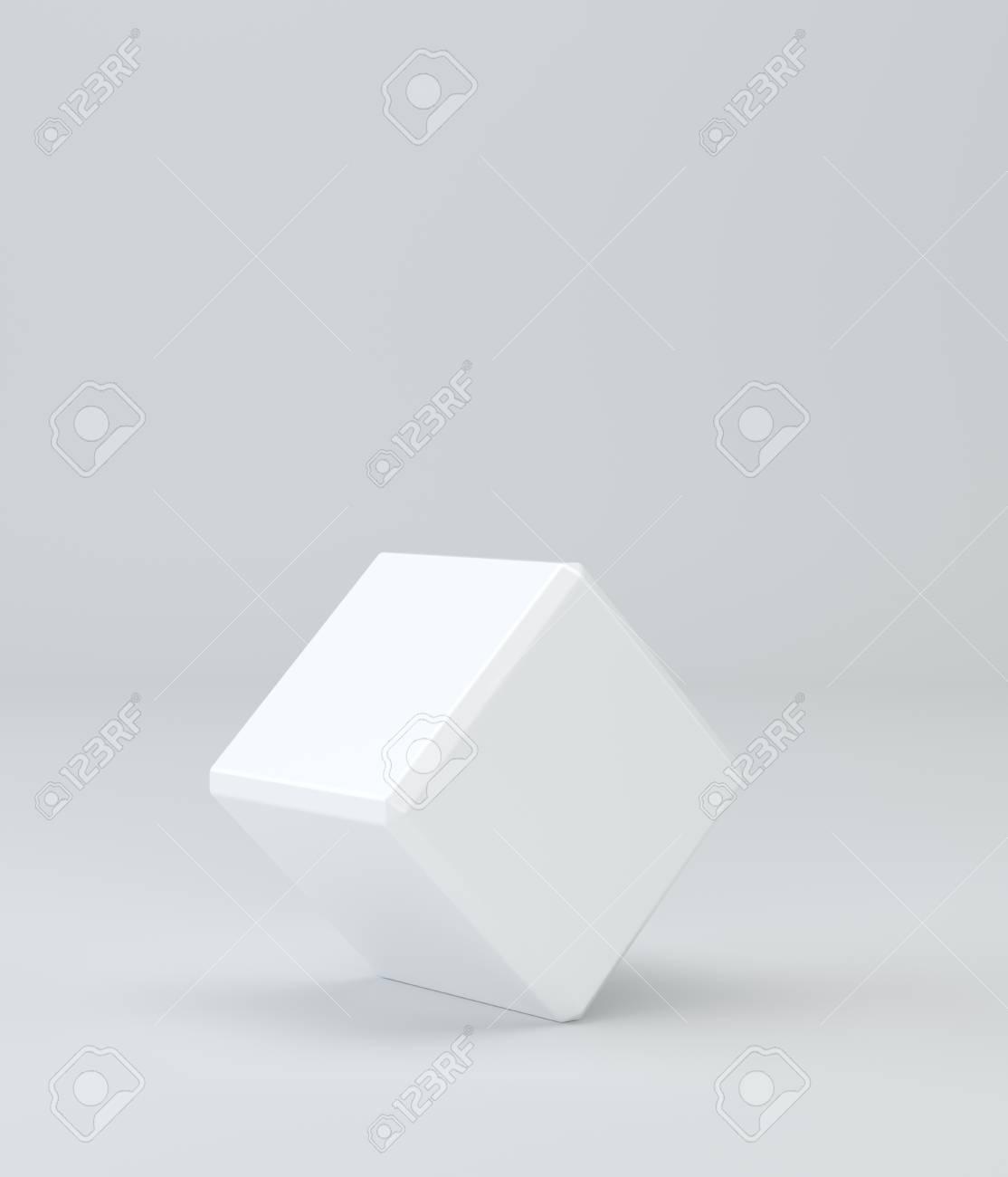 Cubo En Blanco Vacío Plantilla De Caja En El Fondo Representación