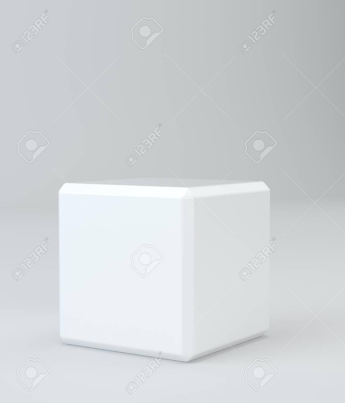 Cubo Blanco En El Fondo Del Estudio De Pared Representación 3d