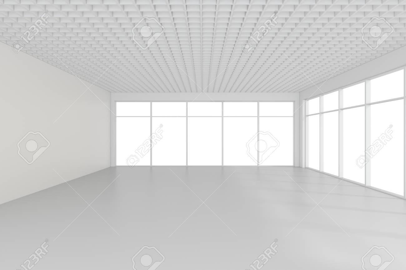 Heller Weißer Raum Mit Fenstern 3d Rendering Lizenzfreie Fotos