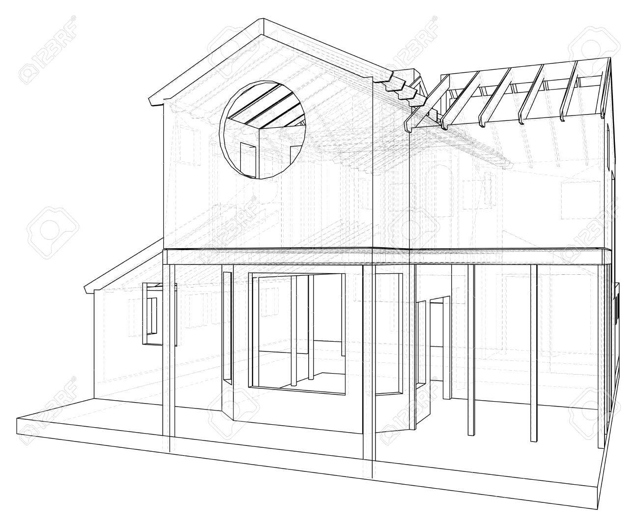 House Drawing In Vector The Contours Of The House Vector Created