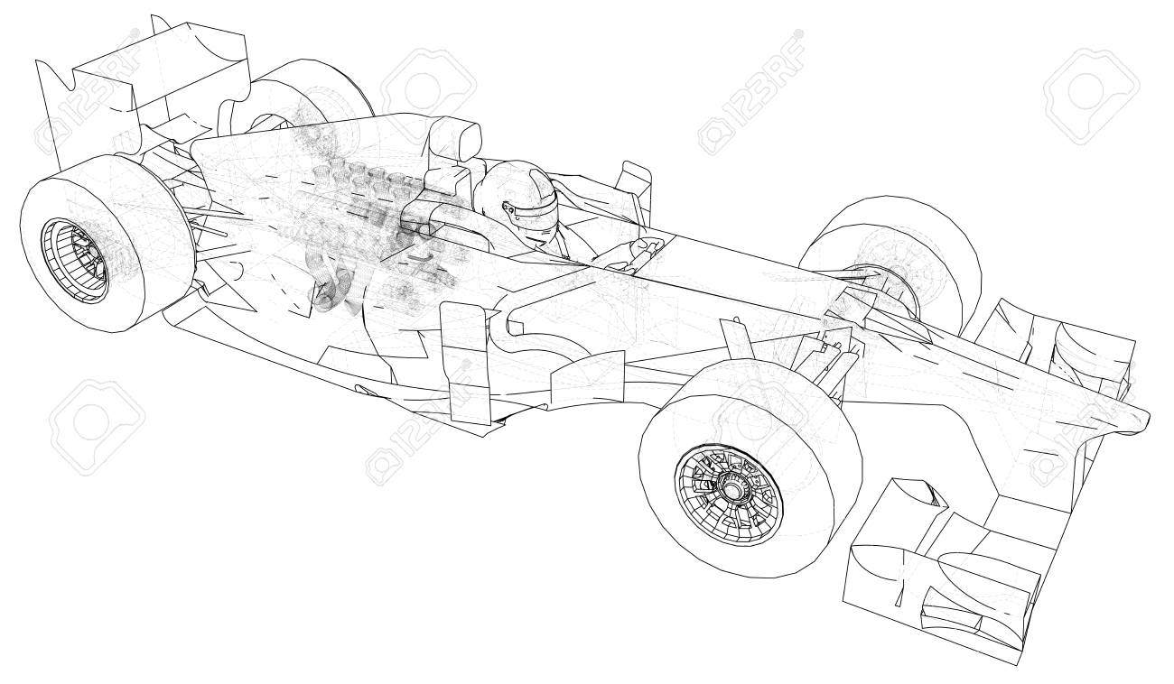 Racing Car. Wire-frame. EPS10 Format. Vector Rendering Of 3d Royalty ...