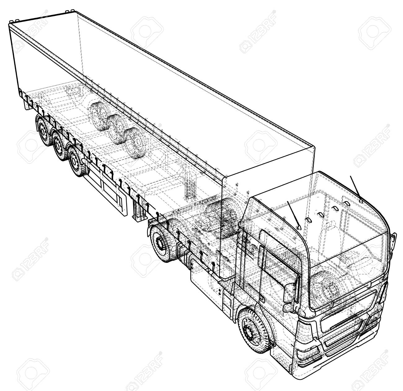 87661236 3d tracing illustration of cargo truck linear style 3d tracing illustration of cargo truck, linear style royalty free