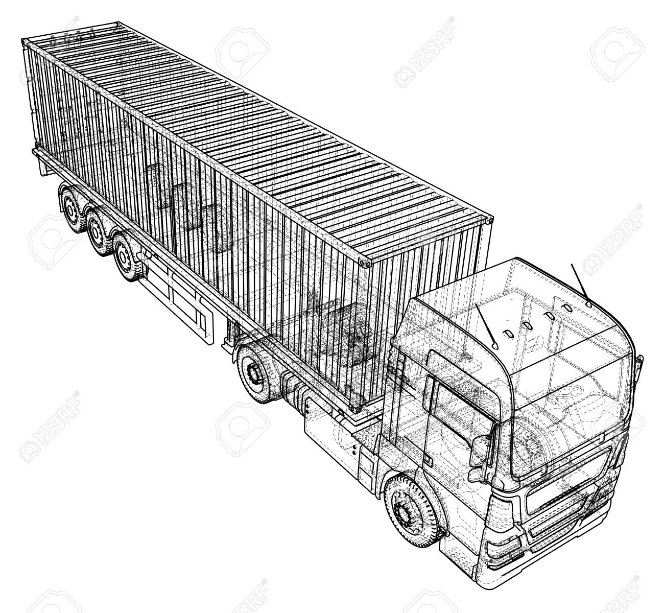 87661243 3d tracing illustration of big cargo truck linear style 3d tracing illustration of big cargo truck, linear style royalty