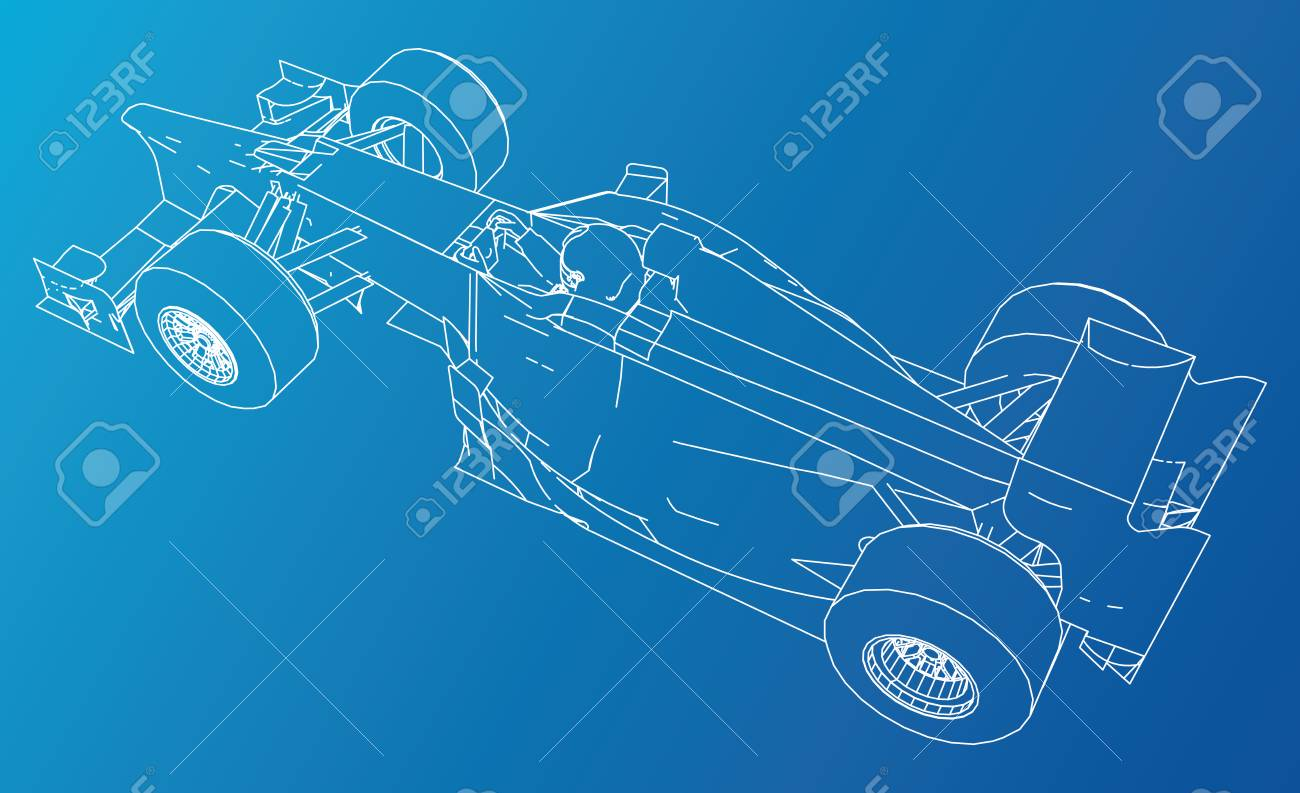 Model Speed Car. Abstract Drawing. Wire-frame 3d Design Royalty Free ...