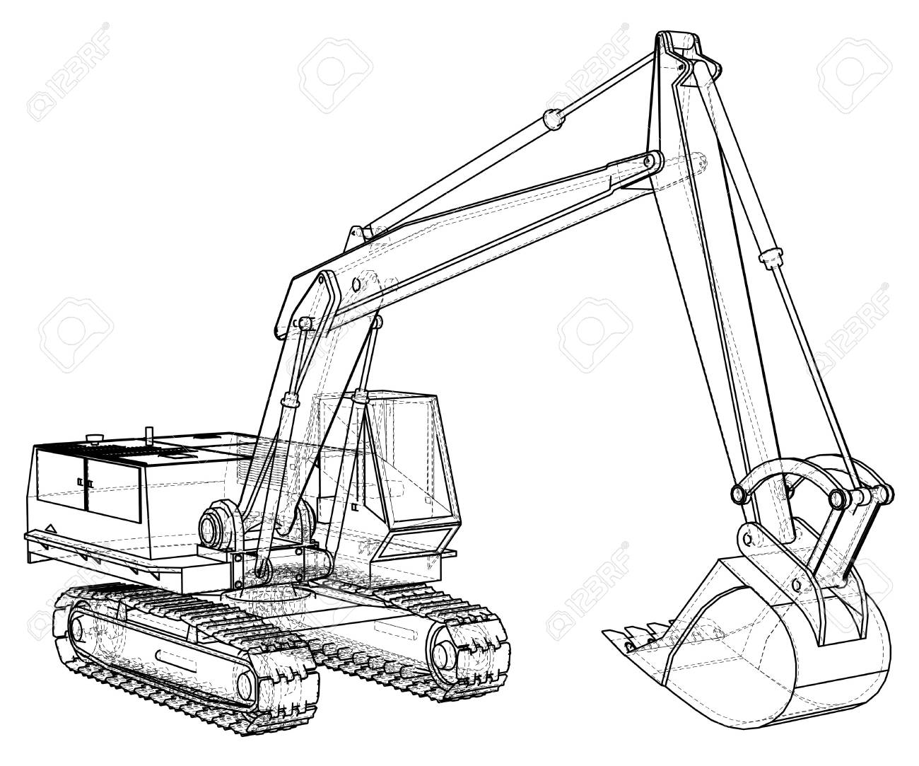 Construction Machine Vehicle. Excavator. EPS10 format. Vector created of 3d - 90757223