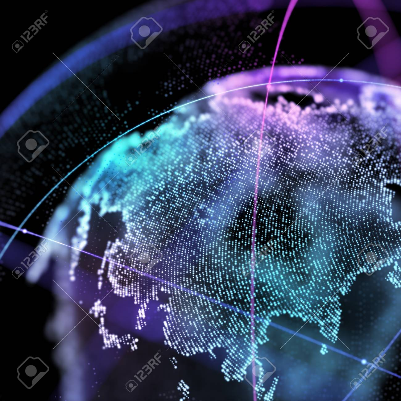 Connections global communication orbits in the world map view connections global communication orbits in the world map view on dark space background 3d illustration gumiabroncs Gallery