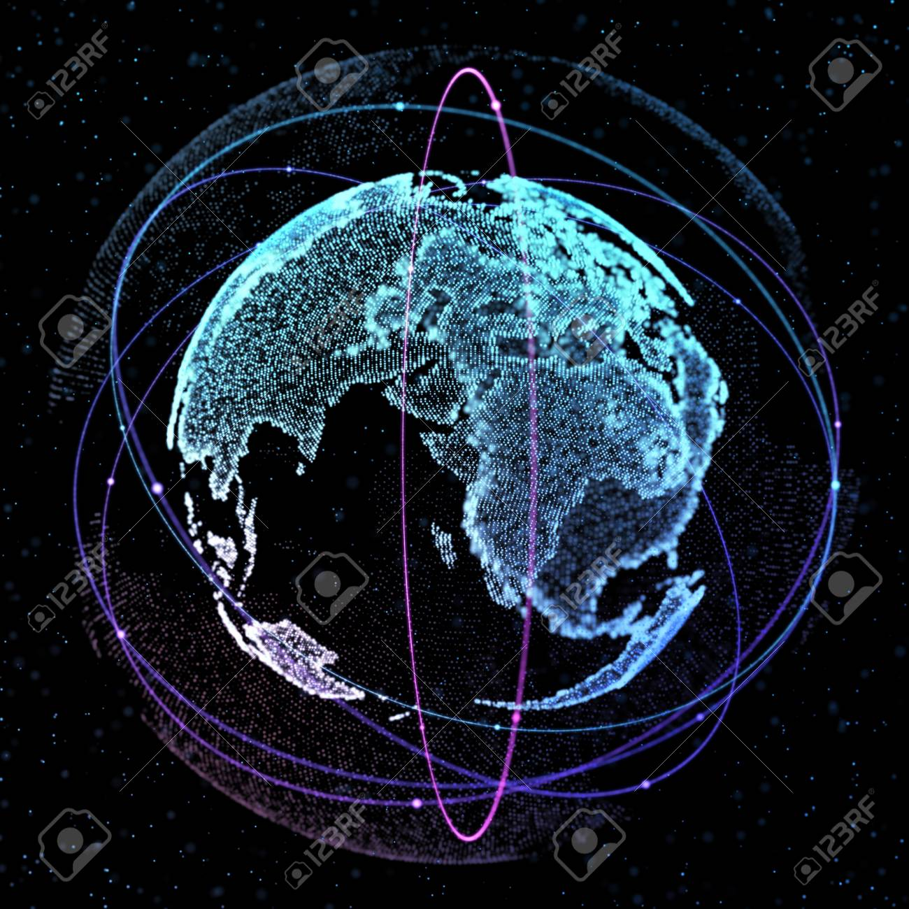 World Map Satellite Representing The Global Global Network Stock
