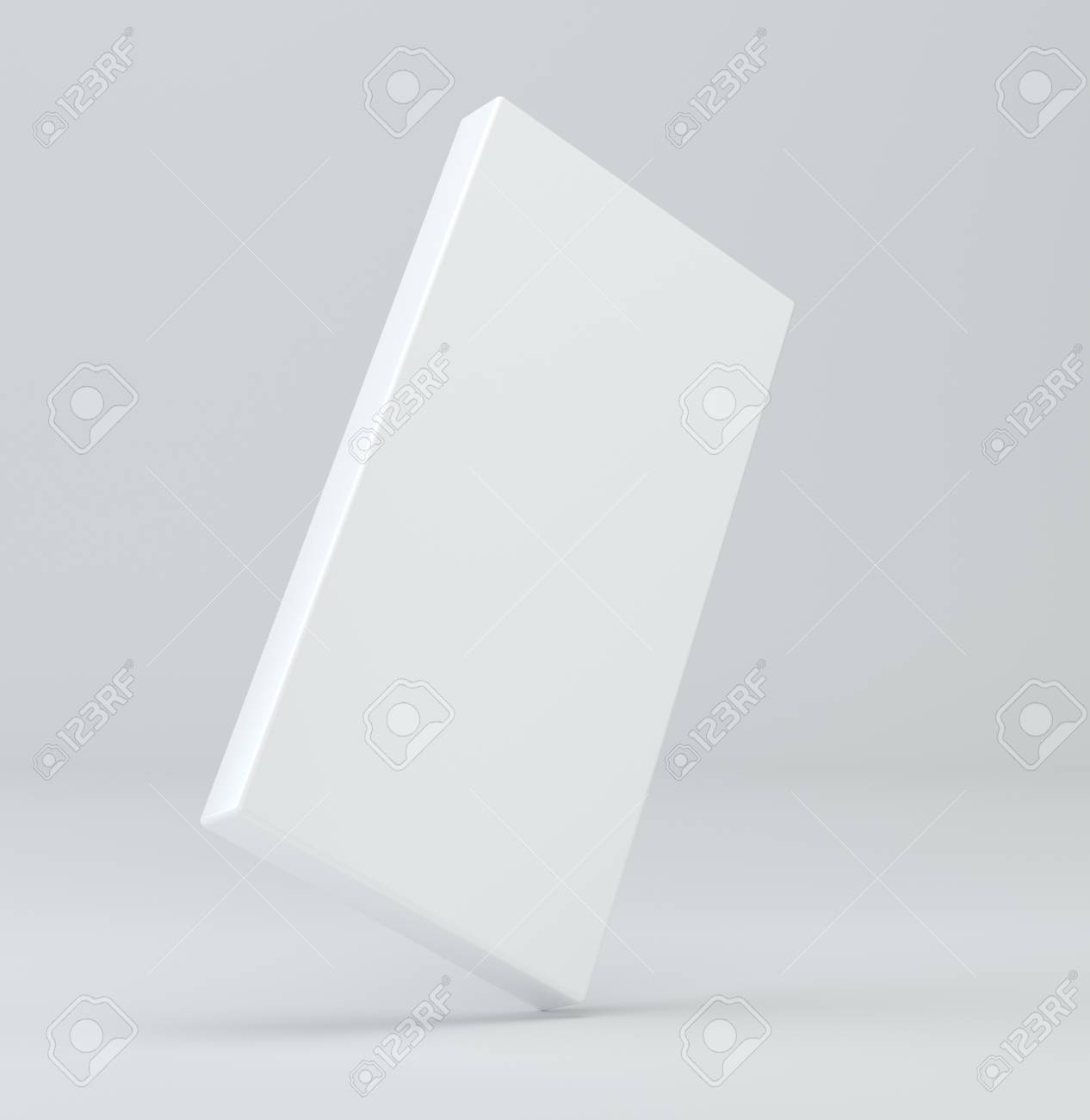 White package blank box from top front side angle. 3D illustration on studio light background - 94988281