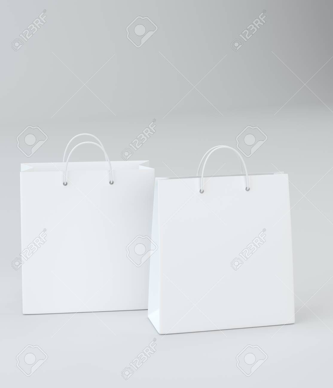 white paper bags for luxury store on studio background template