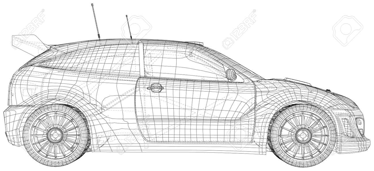 Rally car illustration vector. Wire-frame line isolated. Vector rendering of 3d. - 157269255
