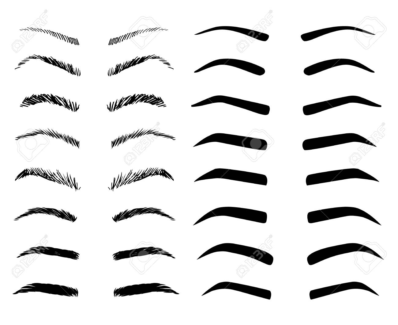 Eyebrow shapes illustration set. Various types of eyebrows. - 123343723