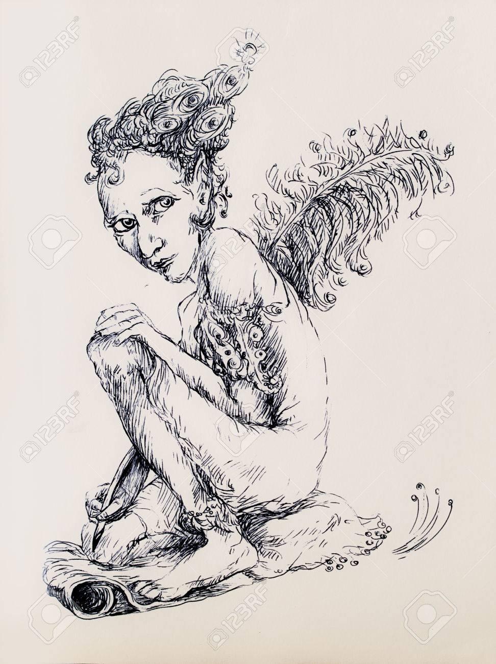 Beau Dessin D Ornement Linéaire Détaillée D Une Créature Elfique Comme Un écrivain Magique Avec Une Plume D Autruche