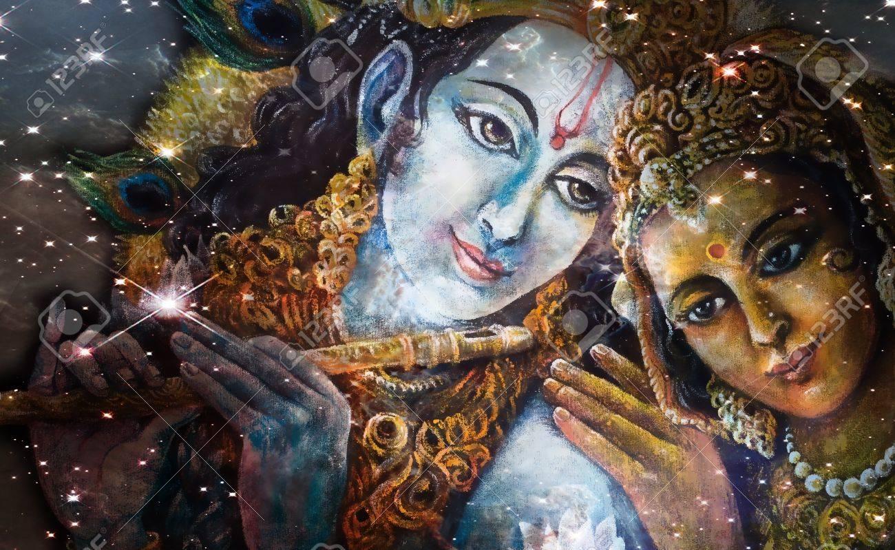 クリシュナ神とラーダー、美しい...