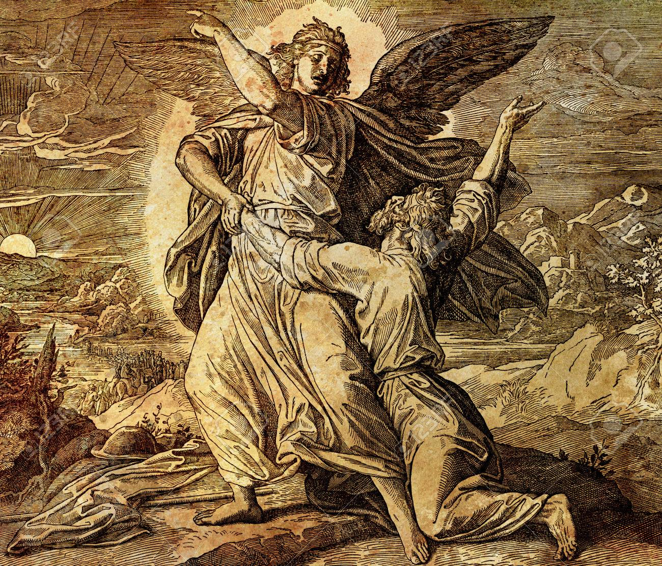 Jacob wrestling with the angel of god, graphic collage from engraving of Nazareene School, published in The Holy Bible, St.Vojtech Publishing, Trnava, Slovakia, 1937. - 75780408