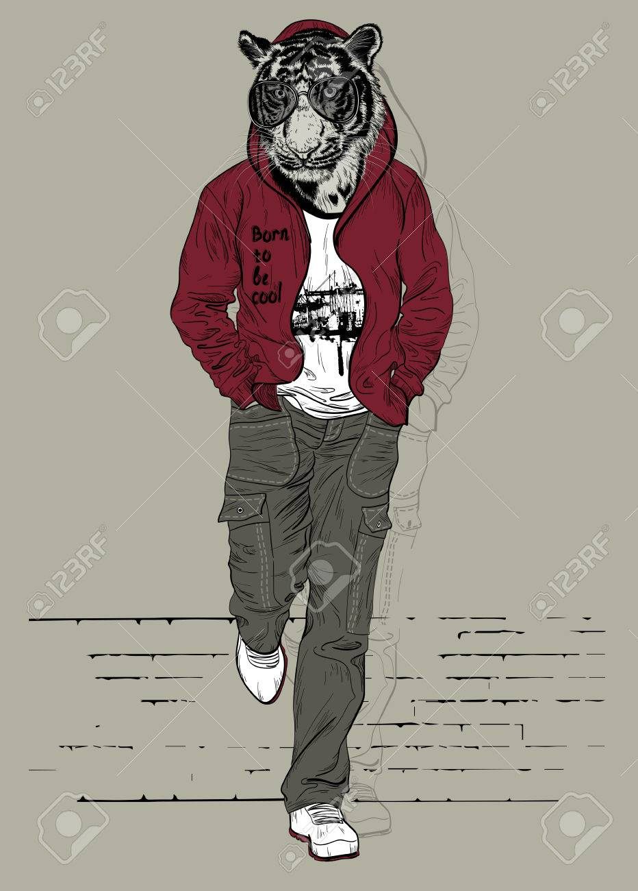 Fashion man with the head of tiger for poster or t-shirt print - 49688426