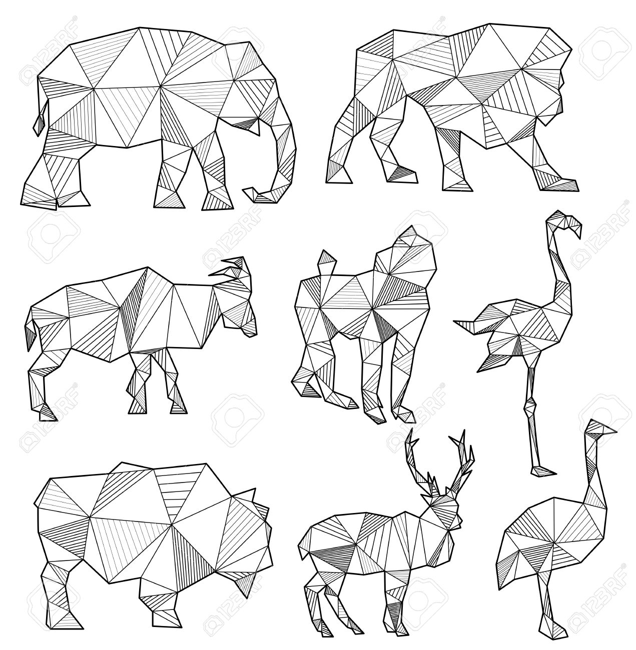 Set Of Origami Animal Silhouettes Elephant Lion Goat Monkey Flamingo