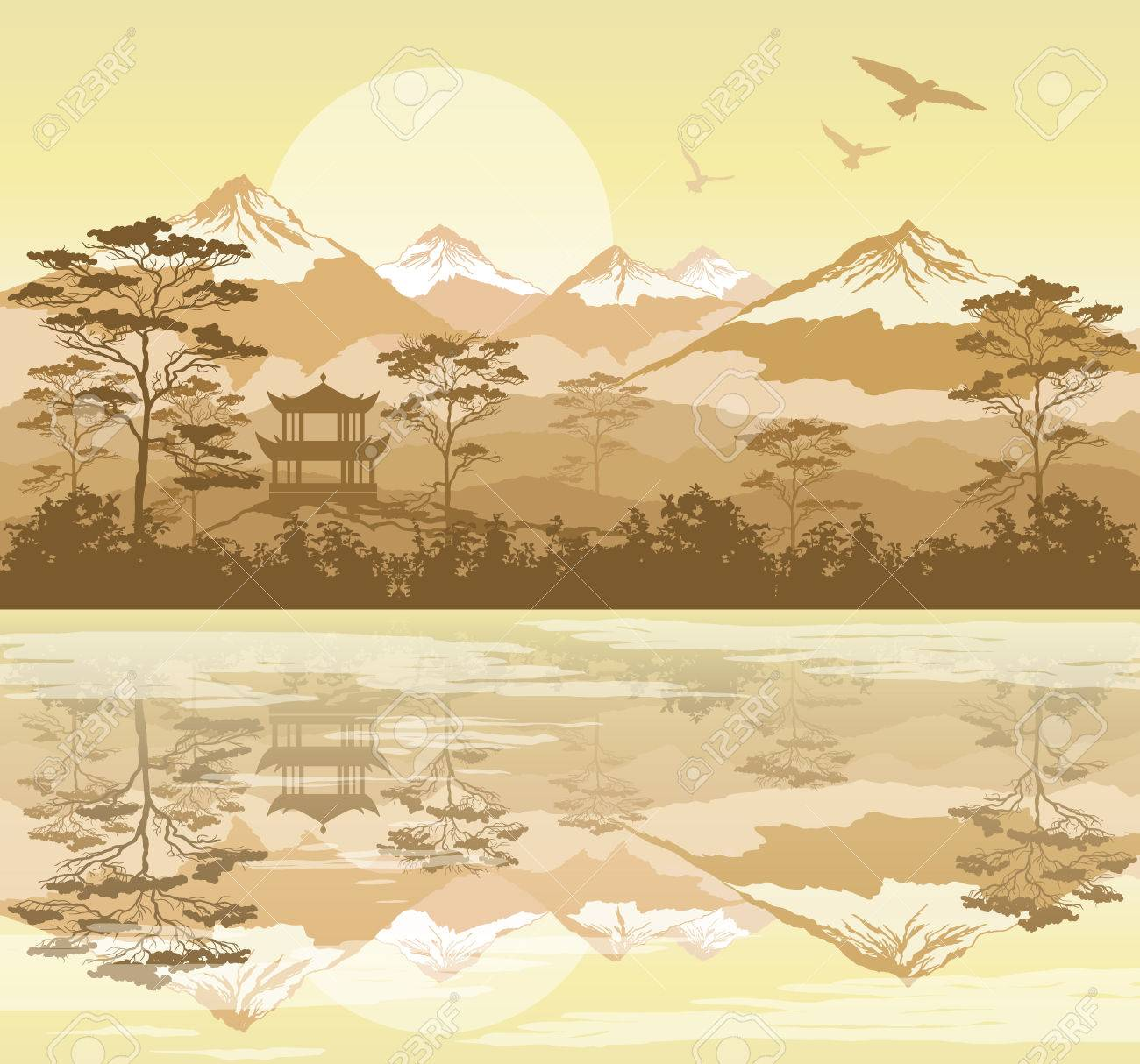 Japanese landscape with forest, lake and mountains - 79567716
