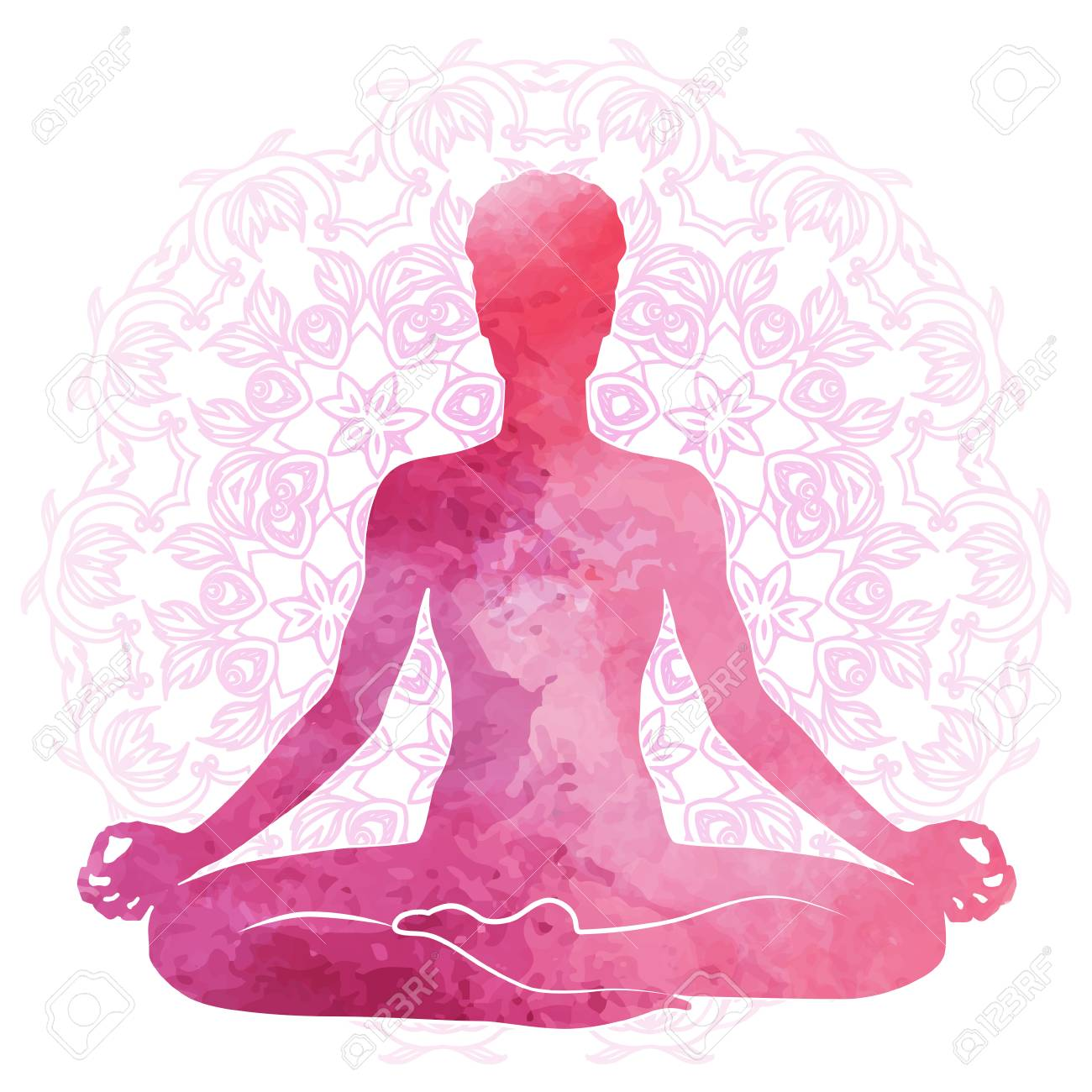 Practicing Yoga Relaxation And Meditation Watercolor Silhouette Royalty Free Cliparts Vectors And Stock Illustration Image 93314246
