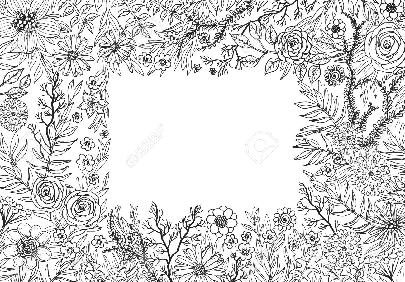 Hand Drawing Background With Flowers And Plants Doodle Floral