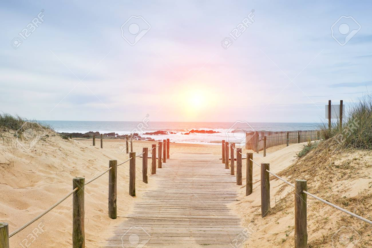 Wooden path on the beach with ocean view - 100628792