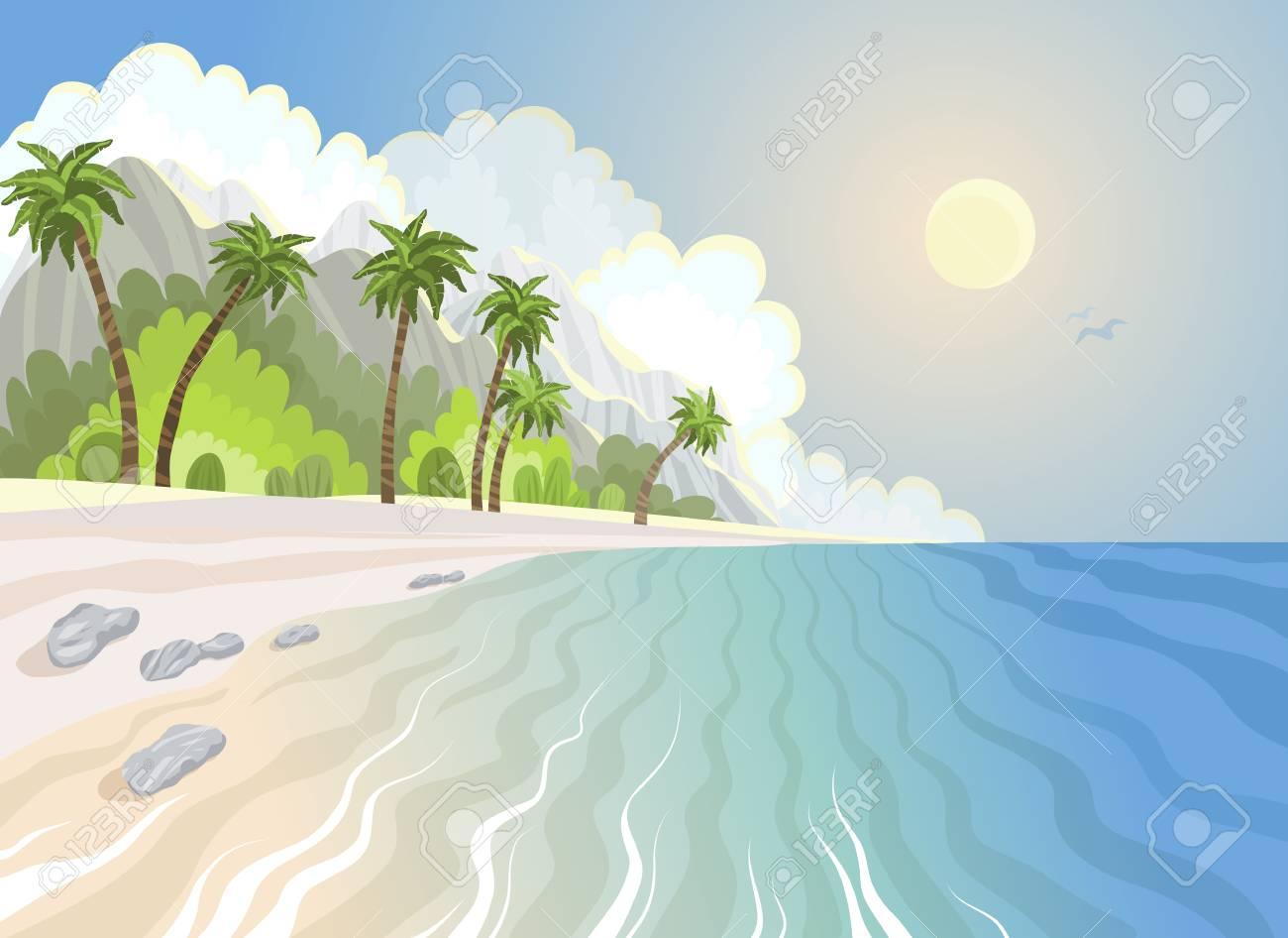 Summer paradise beach and palm trees at seashore, tropical vector illustration. - 125230045