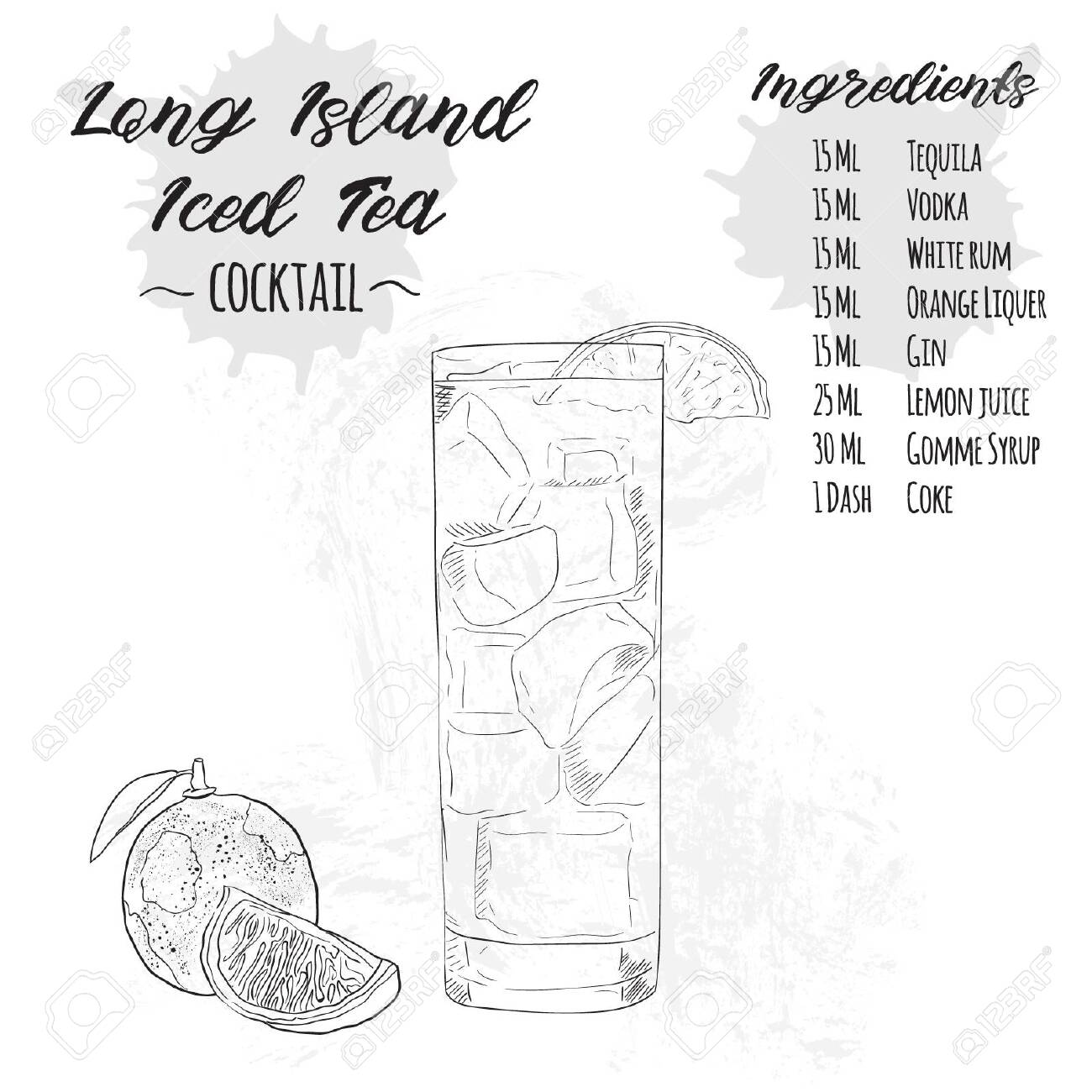 Hand Drawn Black And White Long Island Iced Tea Summer Cocktail Royalty Free Cliparts Vectors And Stock Illustration Image 149218695