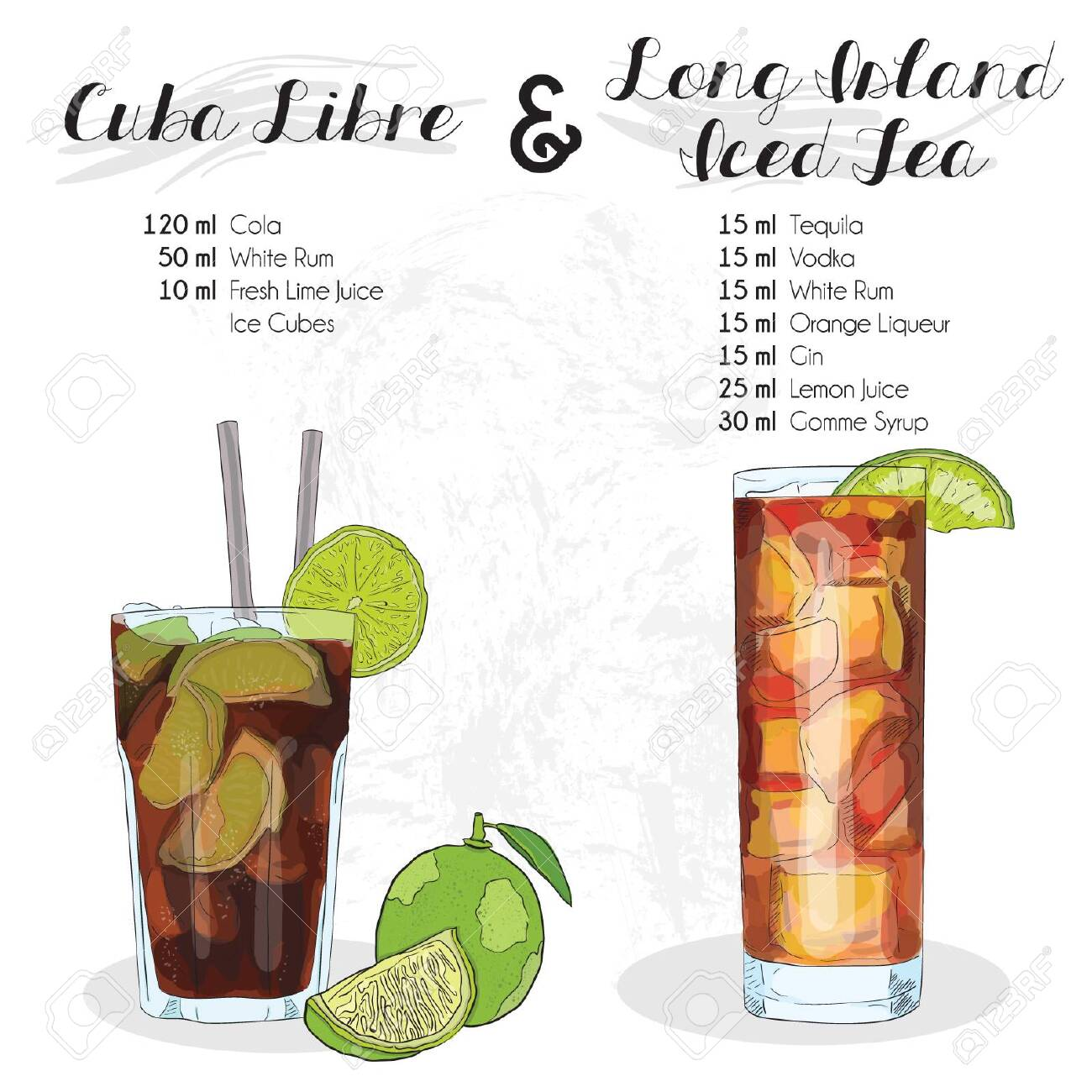 Hand Drawn Colorful Cuba Libre And Long Island Iced Tea Summer Royalty Free Cliparts Vectors And Stock Illustration Image 149221176