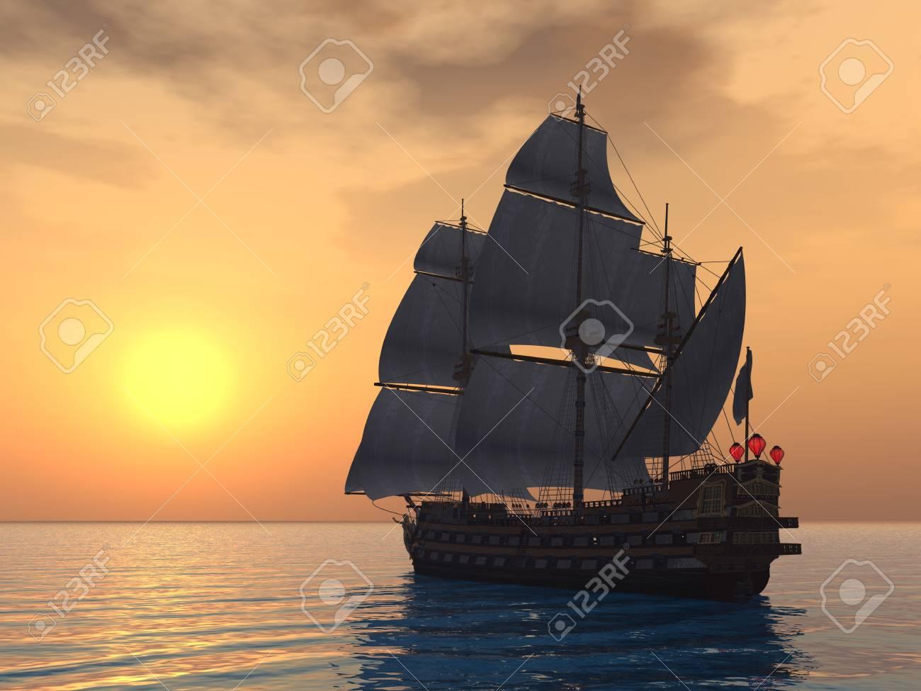 Sailing Ship with Sunset Stock Photo - 17320172