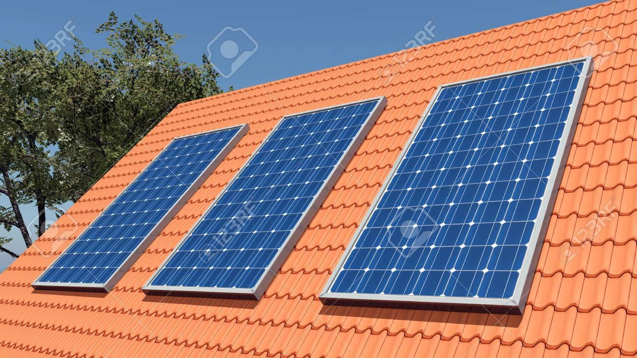 foto de archivo paneles solares en un tejado