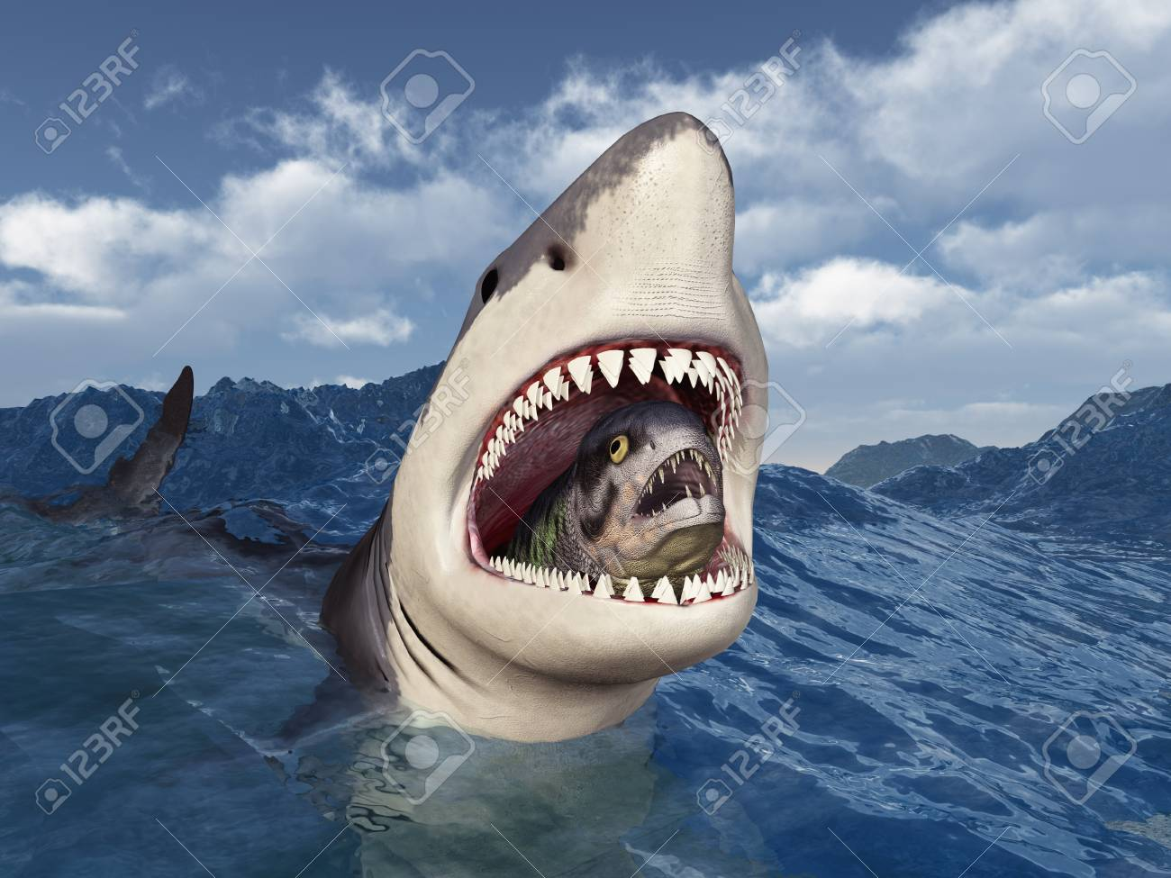 Great white shark with prey in its mouth in stormy sea