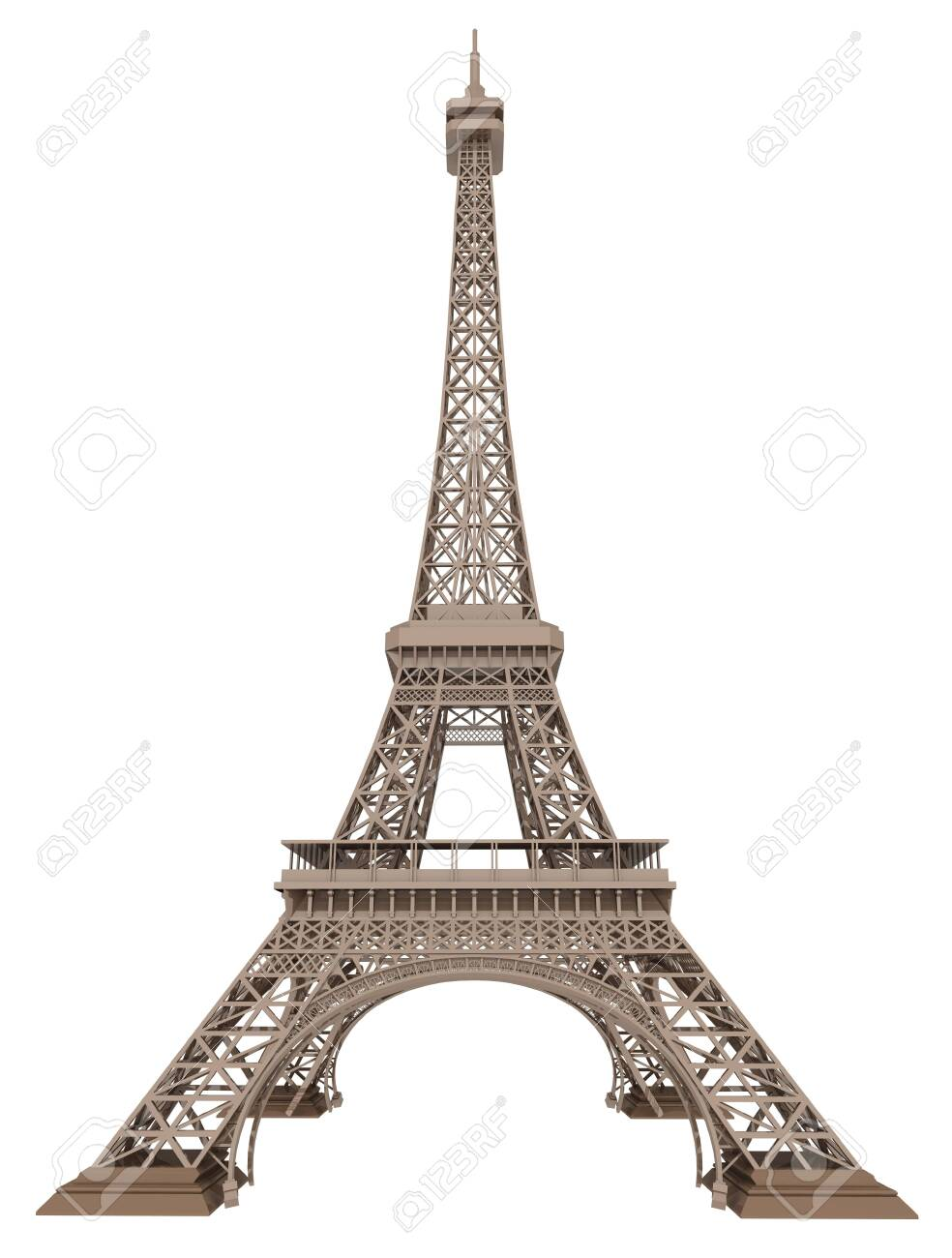 Eiffel tower isolated on white background - 150947299