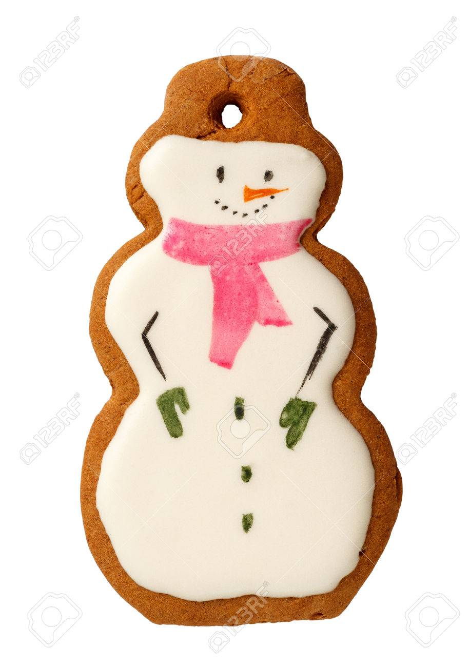 Traditional Iced Gingerbread Christmas Cookies Snowmen Isolated ...
