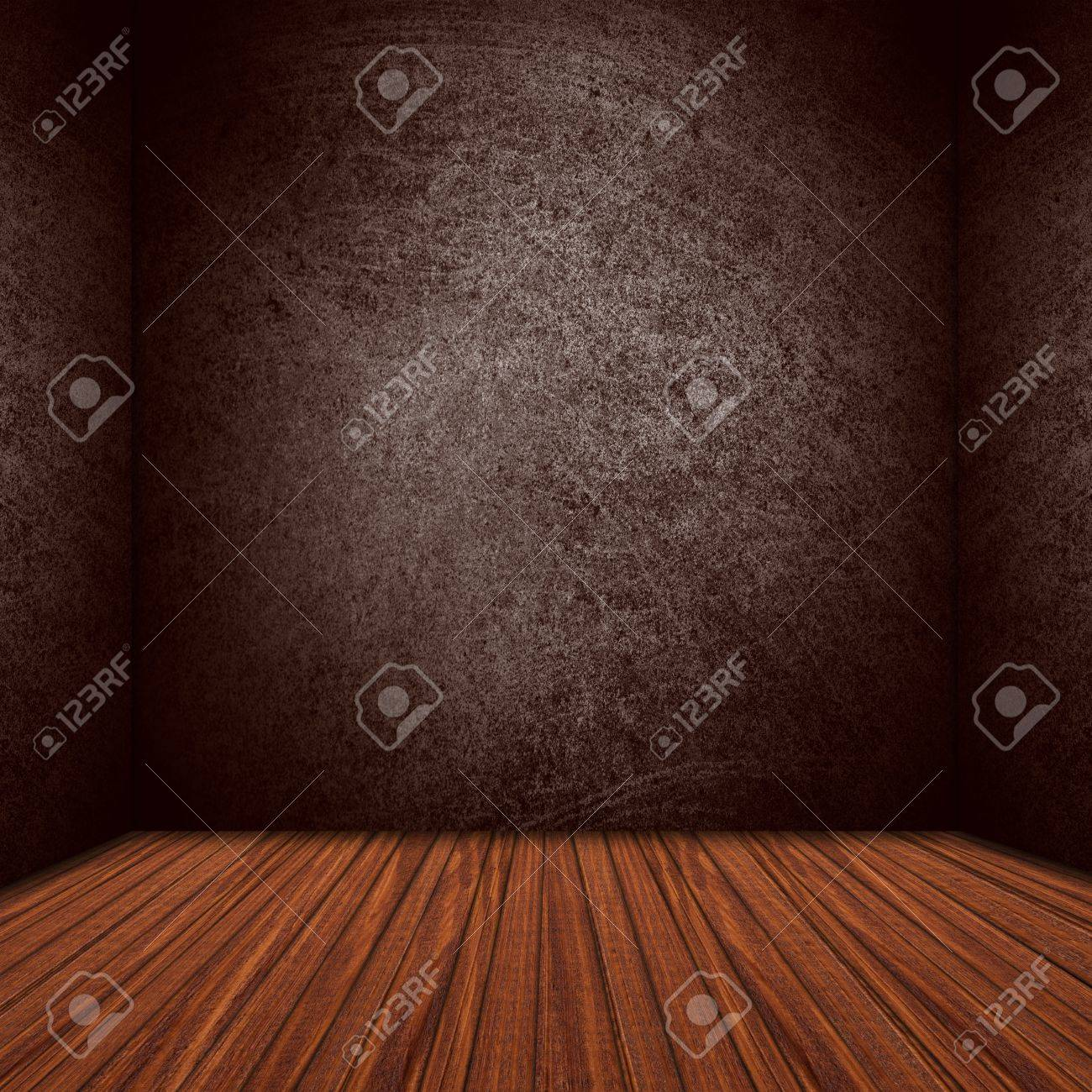 rough vintage wall and brown wooden floor or empty stage as background Stock Photo - 17552119