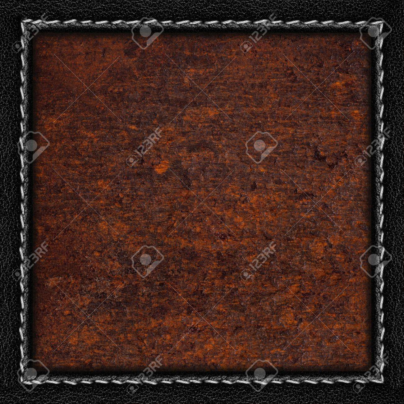 Rust Metal Sheet Background Or Iron Brown Texture In Black Leather ...