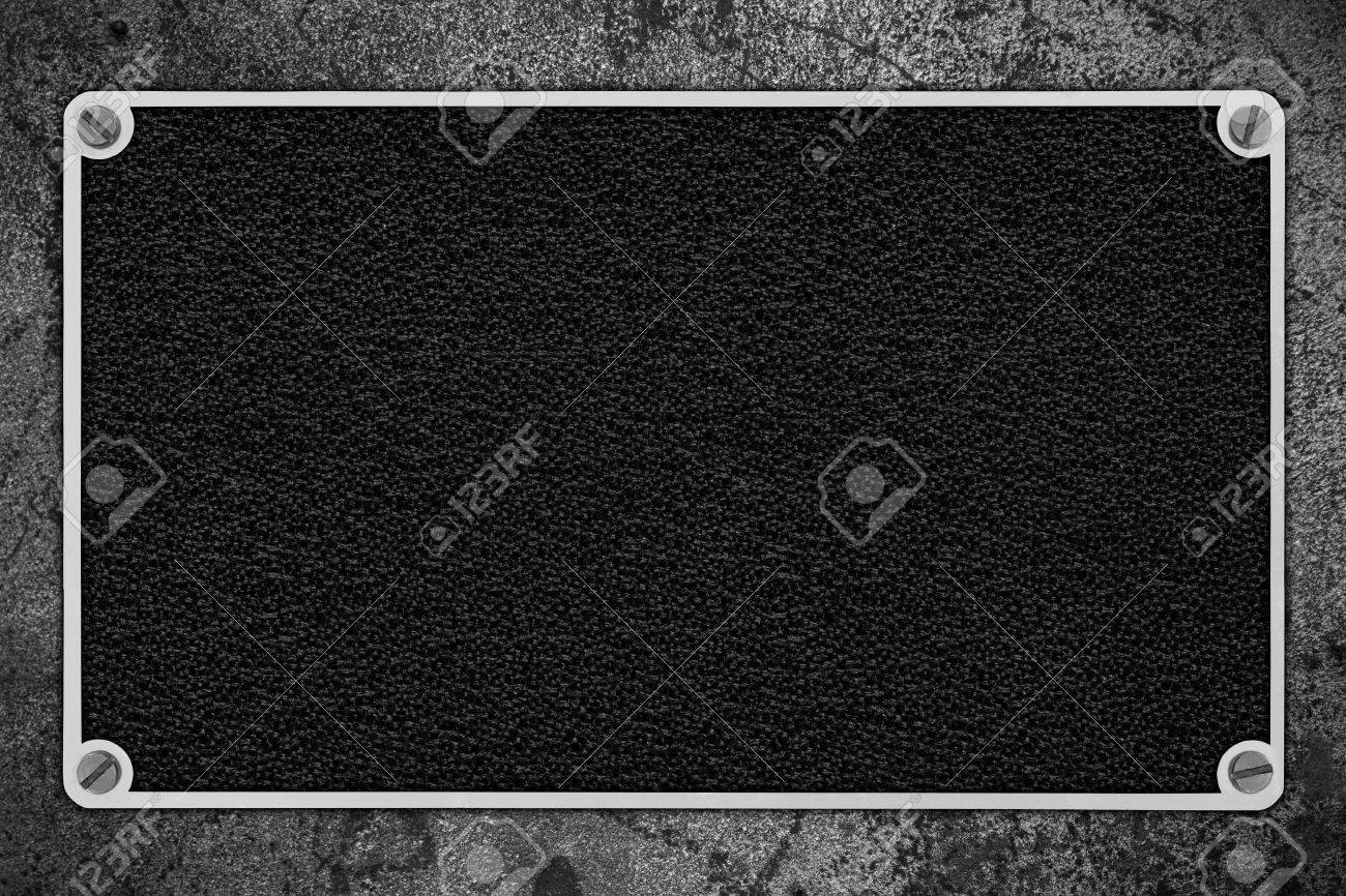 Fondo De Cuero Negro En Marco De Metal De Plata Sobre De Textura ...