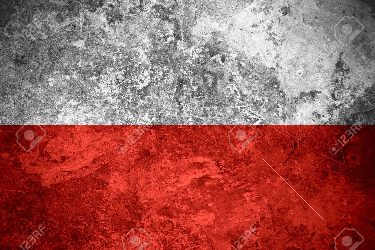 flag of poland or polish banner on rough texture stock photo