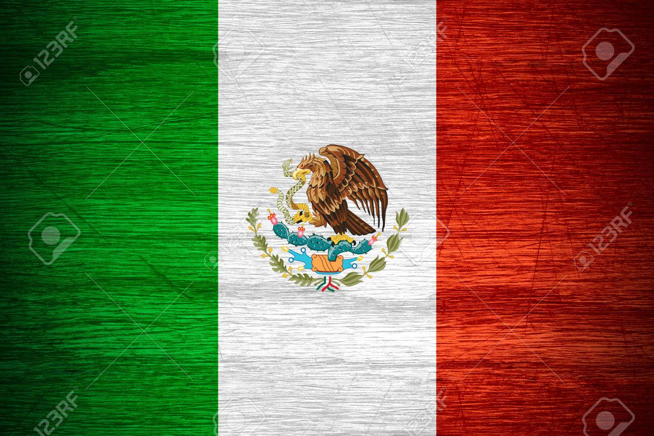 Mexico flag or Mexican banner on wooden texture - 38336069