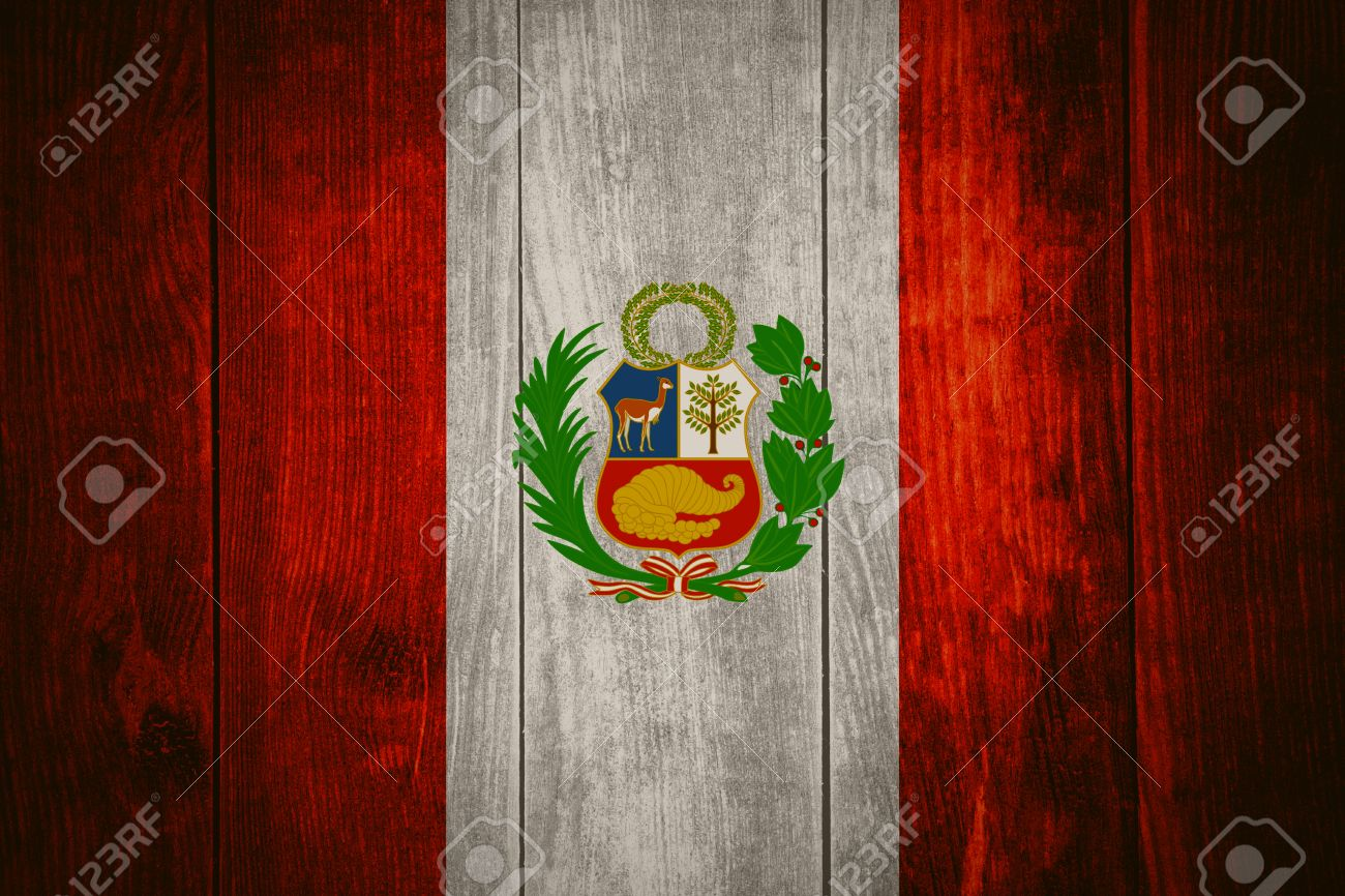 flag of peru or peruvian banner on wooden background stock photo