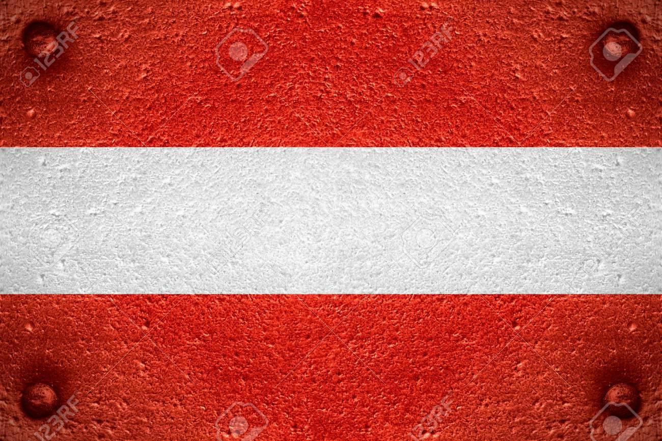 Flagge Von österreich Oder österreichische Fahne Auf Stahl