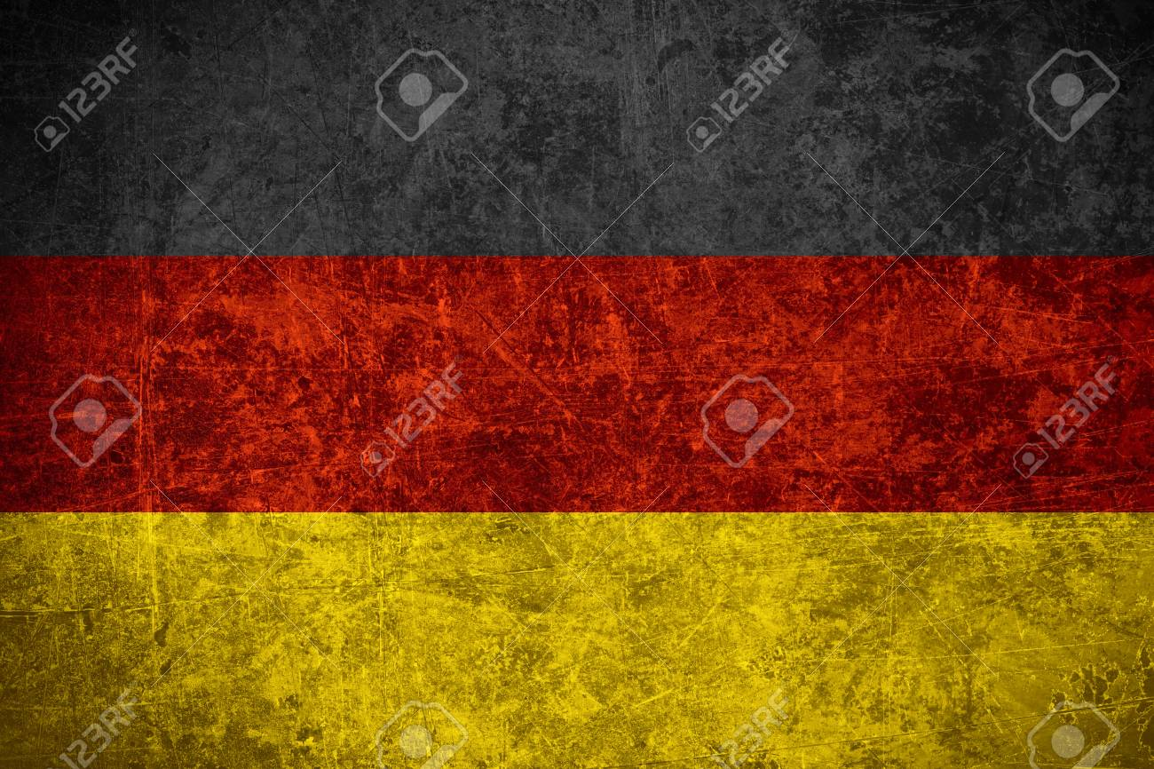 flag of germany or german banner on scratched vintage texture stock
