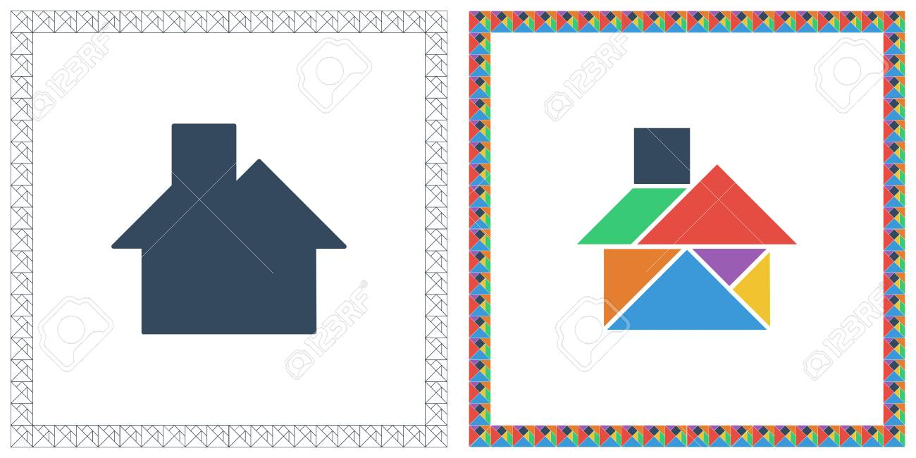 Tangram brain game house riddle and answer flat ui color vector tangram brain game house riddle and answer flat ui color vector illustration stock vector 95133734 ccuart Image collections