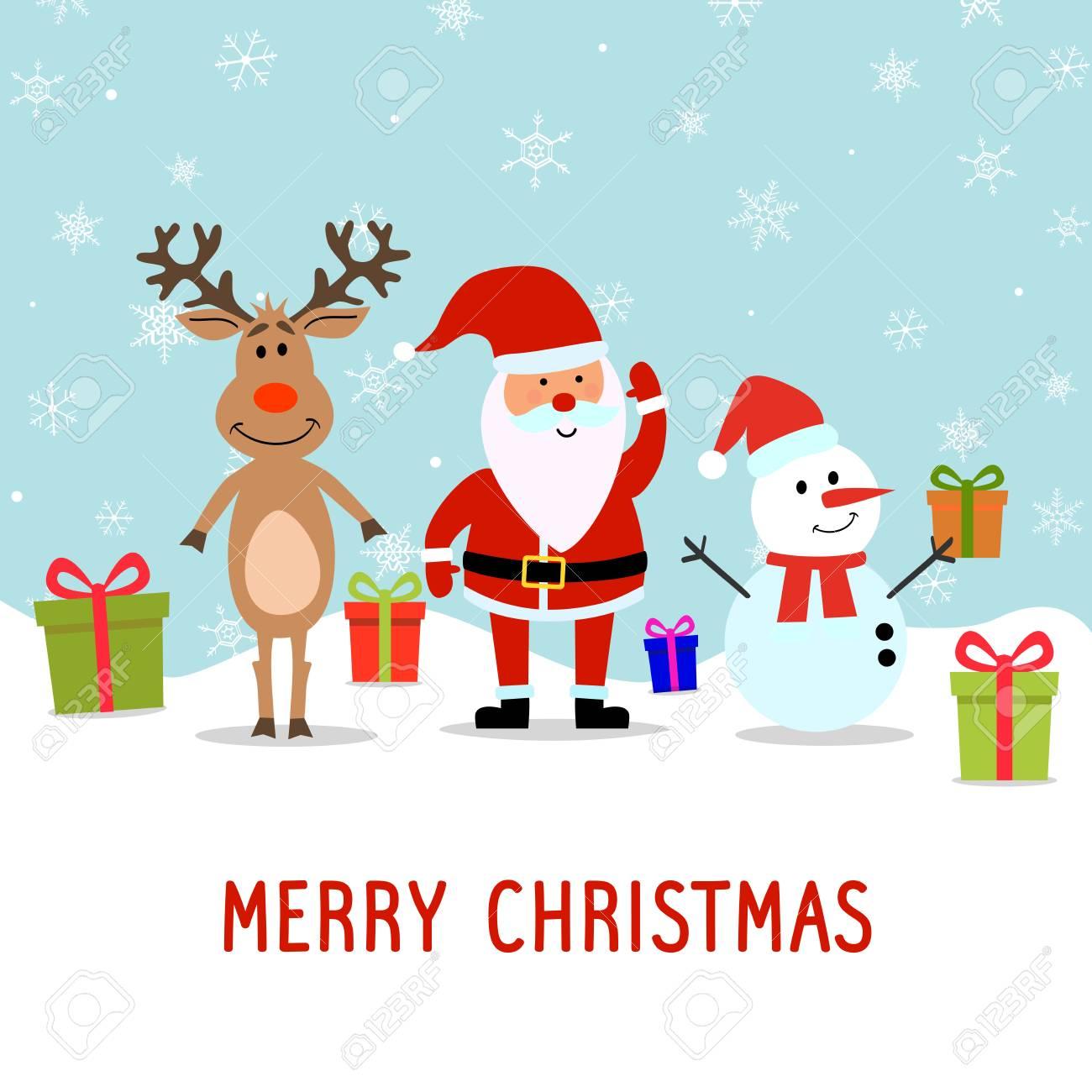 Merry Christmas Postcard Cute Santa Claus Vector Illustration ...