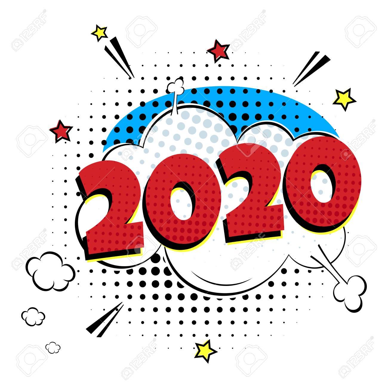 Christmas Comic 2020 2020 Happy New Year Christmas Comic Pop Art Speech Bubble Vector