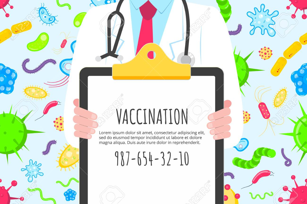 Vaccination Banner Concept Flat Style Design Poster Male Man Royalty Free Cliparts Vectors And Stock Illustration Image 139068404