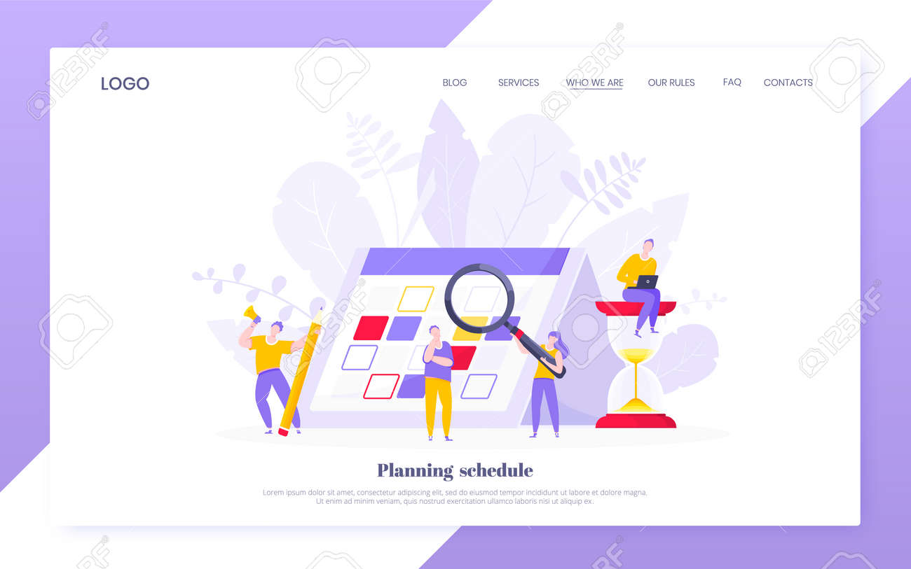 Calendar planning schedule business concept vector illustration. Tiny people with magnifier glass, big hourglass do working plan on day calendar and checks dates. Time management deadline web template - 156526925